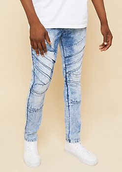 Flex Medium Wash Knee Patch Super Skinny Jeans