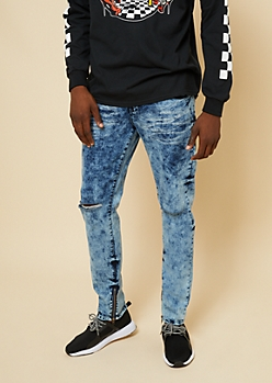 Flex Light Acid Wash Zipper Ankle Ripped Knee Skinny Jeans