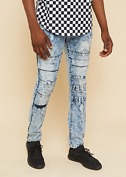 Flex Medium Acid Wash Distressed Flap Skinny Jeans