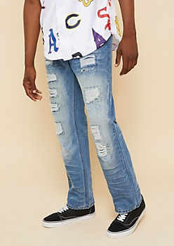 Medium Wash Patched Distressing Bootcut Jeans