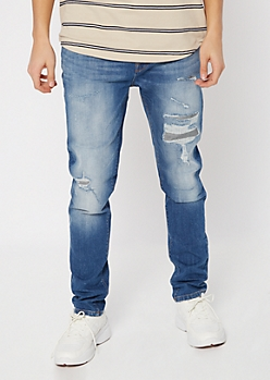 Supreme Flex Medium Wash Patch Skinny Jeans