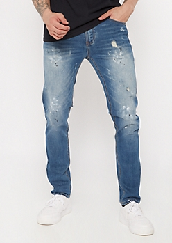 Supreme Flex Medium Wash Paint Splattered Skinny Jeans