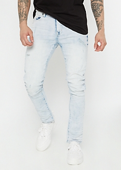 Supreme Flex Light Wash Distressed Skinny Jeans
