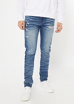 Supreme Flex Medium Wash Wrinkle Skinny Jeans
