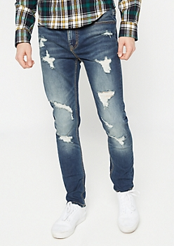 Supreme Flex Dark Wash Distressed Skinny Jeans