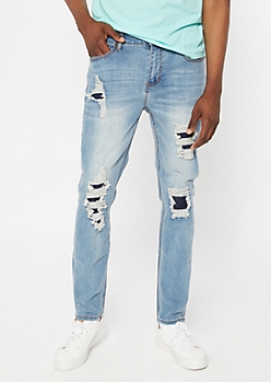 Supreme Flex Medium Wash Rip and Repair Skinny Jeans