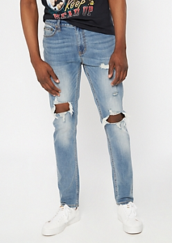 Supreme Flex Medium Wash Blown Knee Skinny Jeans
