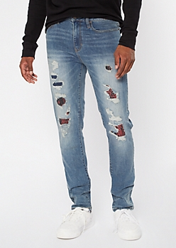 Medium Wash Ripped Repaired Print Backed Skinny Jeans