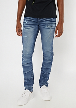 Dark Wash Distressed Stacked Skinny Jeans