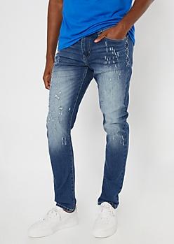 Dark Wash Side Stitched Skinny Jeans