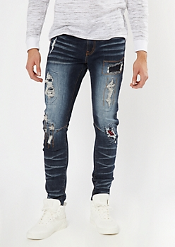Dark Wash Ripped Buffalo Plaid Patch Skinny Jeans