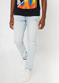 Light Bleach Wash Distressed Reinforced Knee Skinny Jeans