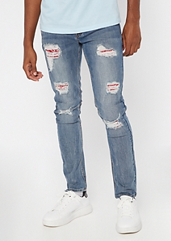 Light Wash Bandana Print Rip And Repair Skinny Jeans