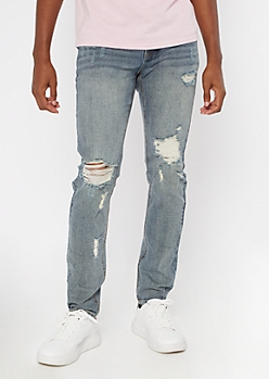 Medium Wash Tinted Ripped Knee Skinny Jeans