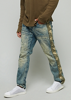 Light Wash Camo Print Side Striped Skinny Jeans