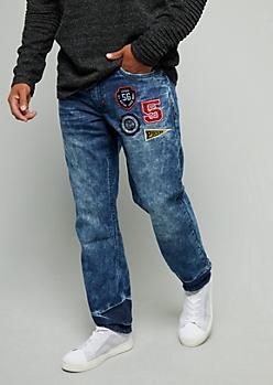 Dark Wash Varsity Patch Slim Fit Jeans