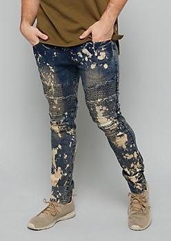 Flex Dark Bleach Wash Moto Skinny Jeans