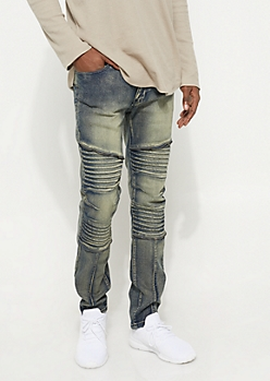 Vintage Wash Moto Jeans