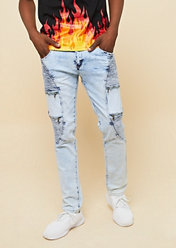 Flex Light Acid Wash Zippered Skinny Moto Jeans