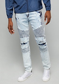 Flex Light Acid Wash Ripped Moto Knee Skinny Jeans