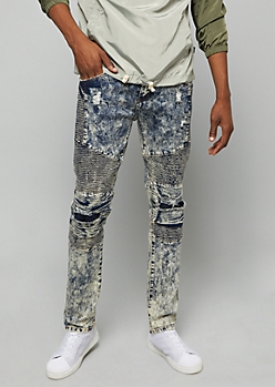 Flex Medium Acid Wash Ripped Moto Knee Skinny Jeans