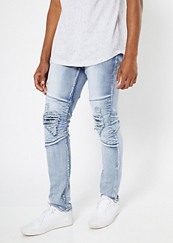 Supreme Flex Light Acid Wash Ripped Knee Skinny Jeans