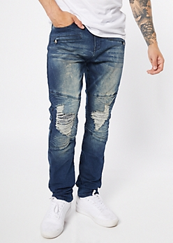 Supreme Flex Dark Acid Wash Ripped Knee Skinny Jeans