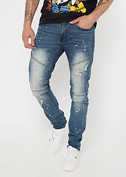 Supreme Flex Medium Rinse Paint Moto Skinny Jeans