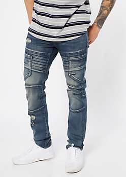 Supreme Flex Dark Wash Asymmetrical Moto Skinny Jeans