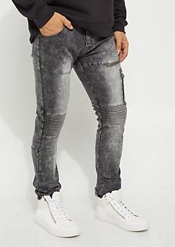 Flex Black Washed Cargo Moto Skinny Jeans