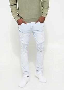 Flex Bleached Light Distressed Moto Skinny Jeans