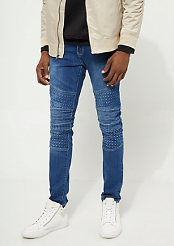 Flex Medium Wash Gel Moto Skinny Jeans