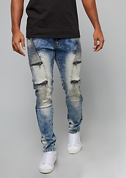 Flex Medium Acid Wash Moto Zip Skinny Jeans