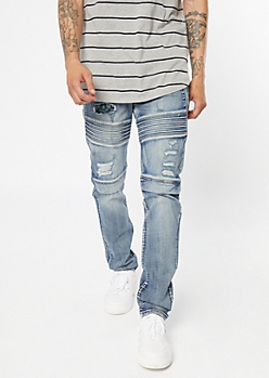 Supreme Flex Medium Wash Bandana Moto Skinny Jeans