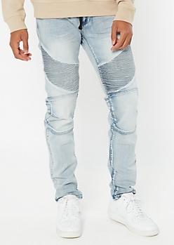 Supreme Flex Light Wash Drawstring Jogger Skinny Jeans