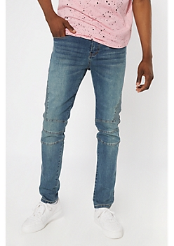 Supreme Flex Dark Wash Moto Skinny Jeans