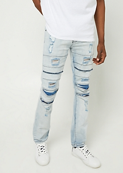 Acid Wash Distressed Moto Skinny Jeans