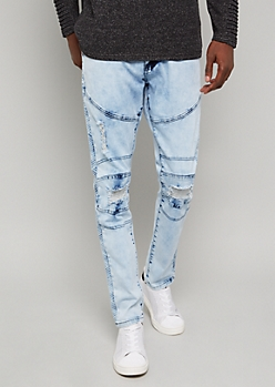 Flex Light Wash Gel Pattern Skinny Jeans
