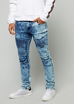 Flex Medium Wash Gel Stud Moto Skinny Jeans