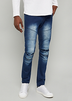 Flex Dark Wash Gel Stud Moto Skinny Jeans