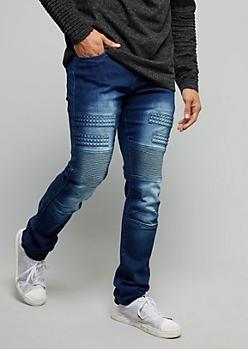 Flex Dark Wash Studded Moto Skinny Jeans