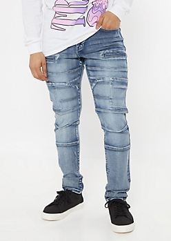 Dark Wash Seamed Skinny Moto Jeans
