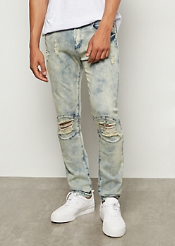 Flex Dark Acid Wash Ripped Knee Skinny Jeans