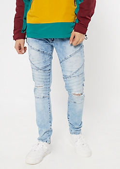 Flex Light Wash Gel Moto Striped Skinny Jeans