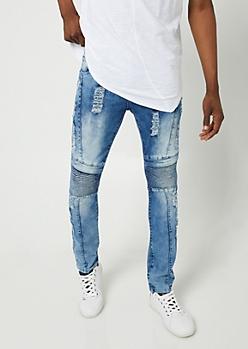 Flex Dark Cloudy Wash Skinny Moto Jeans