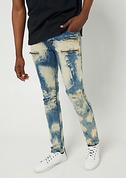 Flex Dark Wash Painted Skinny Moto Jeans