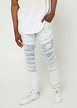 Flex Light Wash Diagonal Moto Skinny Jeans