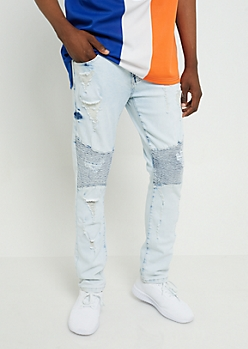 Flex Light Wash Skinny Moto Jeans
