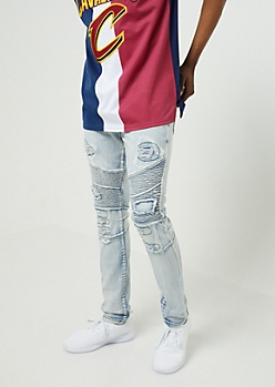 Flex Light Wash Distressed Skinny Moto Jeans