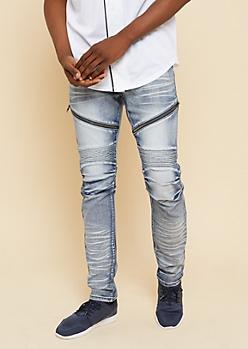 Flex Light Ice Wash Zippered Skinny Moto Jeans